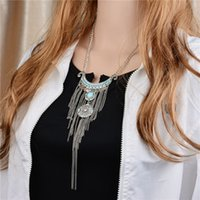 Wholesale Black Tassel Gemstone - Europe Style Long Chain Gemstone Clavicle Chain Necklace Pendant Sequined Tassels Carved Inlay Imitation Diamonds Retro Necklace
