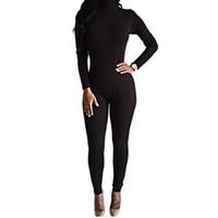 traje negro para mujer al por mayor-Al por mayor- 2016 Recién llegado Sexy Body negro Bodycon Rompers Jumpsuit para mujer Delgado de manga larga Mono de una pieza Monos Macacao