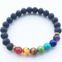 Wholesale Natural Bead Stretch Bracelet - 2017 New Natural Black Lava Stone Bracelets 7 Reiki Chakra Healing Balance Beads Bracelet for Men Women Stretch Yoga Jewelry