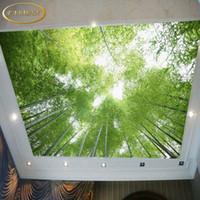 ingrosso 3d murale di bambù-Personalizzato photo carta da parati soffitto carta da parati 3D bambù carta da parati cielo paesaggio verde decorazione murale salone Papel de Parede