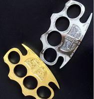 ingrosso oro giallo oro-all'ingrosso Hell detective Constantine Brass Knuckle dusters Gold Autodifesa Attrezzature autodifesa strumento esterno Attrezzature di protezione