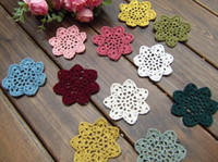 Wholesale Flower Pics Pink - Wholesale- Free shipping handmade 13 colors 50 pics 7 cm round crochet table mat 100% cotton cup pad doily coaster with flower mat