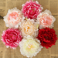 Wholesale Head Flowers - 2017 Artificial Flowers Silk Peony Flower Heads Wedding Party Decoration Supplies Simulation Fake Flower Head Home Decorations 12cm WX-C09