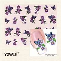 Compra Tatuaggi Di Arte Del Chiodo-All'ingrosso YZWLE 1Pcs Nail Art Sticker Acqua Nails Saloni di bellezza avvolge Foil Stickers polacchi Tatuaggi temporanei Watermark