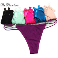 Wholesale Ladies Bow Lingerie - Rebantwa Lady Thongs Women Lingerie Cotton Sexy Panties Cute Bow Underwear Women Intimates Briefs Thongs G-String Sexy V-String Wholesale