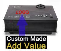 Wholesale Vga Screen - 5PCS Custom Made UC46 Projector 1200LM 3D LED wifi Projector Support 800 x 480 DLNA AV USB HDMI VGA SD Mini Home Video Proyector Screen TV