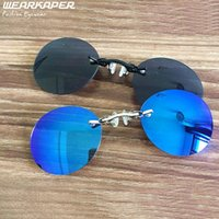 Wholesale Nose Goggles - Wholesale- WEARKAPER Clip On Nose glasses Matrix Morpheus Movie rimless Retro Round sunglasses culos de feminino gafas de sol men