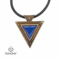 Wholesale Leather Knit Necklaces - European & America knitting leather necklace Dark blue Natural stone Crystal anti-gold pendant necklaces for friends HYCSN04