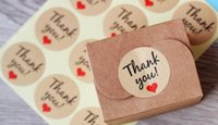 Wholesale Thank Adhesive - Candy paper tags Thank You-adhesive stickers kraft label sticker For DIY Hand Made Gift Cake