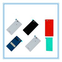 Wholesale Battery For Xperia Mini - DHL Shipping 100pcs New Parts Glass Battery Cover For Sony Xperia Z3 Compact D5803 D5833 Door Housing Z3 Mini Rear Back Glass Cover Case