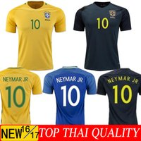 Wholesale New black Brazil jersey NEYMAR JR home away PELE OSCAR D COSTA DAVID LUIZ COUTINHO top quality Brazil shirt Rugby jerseys
