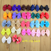 Wholesale Diy Bowknot Chiffon - free shipping 30pcs lot Sweet Girl Bowknot WITH Clip Children Chiffon Layer Bow Clip 21C Baby Korean Hair Clip DIY Accessories H0125
