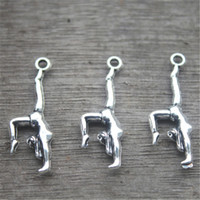 Wholesale Charms Gymnast - 25pcs--Gymnastics Charms, Antique Tibetan Silver Tone Double Sided Gymnast charm pendants 30x11mm