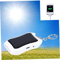 Wholesale Key Ring Mobiles - Wholesale-1200mAH Solar Charger Solar Keychain Mobile Power Supply Energy Saving Charger Battery Power Bank For Cellphone with Key Rings