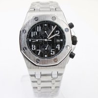 Wholesale Three Dial Mens Watch - wholesaleluxury brand luxury men automatic watch Skeleton three small dial black dial with silver Stainless steel strap g sport mens watches