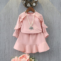 Wholesale Pink Lotus Clothing Wholesale - Wholesale- girls clothes set full sleeve pink suit shirt with skirt Lotus trimming with phineston dress for baby girl autumn clothing