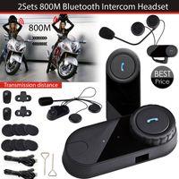 kopfhörer gegensprechanlage großhandel-2 sätze / los Neueste Bluetooth Helm Intercoms FM Radio Motorrad Helm Bluetooth Intercom Kopfhörer BT Headsets TOM-VB