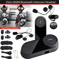 auricular bluetooth auricular de la motocicleta al por mayor-2 set / lote el más nuevo casco de Bluetooth Intercoms Radio FM casco de la motocicleta Bluetooth Intercom Auriculares Auriculares BT TOM-VB