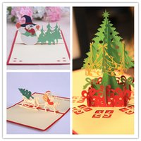 Wholesale xmas cards 3d for sale - DHL SF_express D Christmas Cards Pop Up Greeting Holiday Cards Gifts with a envelopes for Xmas New Year