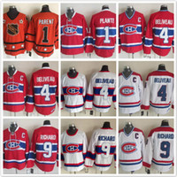 Wholesale maurice white - Vintage Montreal Canadiens 1 Jacques Plante 4 Jean Beliveau 9 Maurice Richard White red Hockey Jerseys