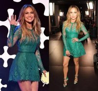 Wholesale Lopez Long Sleeve - Jennifer Lopez Hunter Short Prom Homecoming Dresses Withe Sheer Long Sleeve Cocktail Party Wear Celebrity Gowns Custom Made BA6745