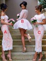 beyaz pembe elbise kısa toptan satış-O-Boyun Kısa Kollu Pembe ve Beyaz Ayak Bileği Uzunluk Gelinlik Modelleri ABC Stil Özelleştirilmiş Parti Elbise