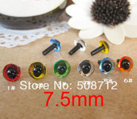 Wholesale Metal Doll Necklaces - eye shoot Free shipping!!!!100pcs 7.5mm mixed color can choose Acrylic CAT Eyes Bears Dolls with METAL lock-washers