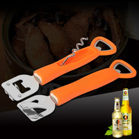 Wholesale beer bottle openers functions for sale - Group buy Orange Beer Corkscrew Multi Function Stainless Steel Folding Bottle Opener Bar Kitchen Supplies Tools Wear Resistance jd C R