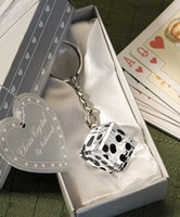 ingrosso favori di battesimo del bambino-Las Vegas a tema collezione di cristallo Dadi Portachiavi Baby battesimo Regali Baby Shower Bomboniere Bomboniere e regali