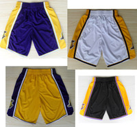 Wholesale Men s basketball shorts player s short nnba pants black oudoor embroided basketball trousers white adult s sportswear purple llakers shorts