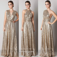 Wholesale golden bridesmaid dresses resale online - Fashion Golden Sequins Long Bridesmaid Dress Cheap Sparkly Maid of Honor Dress Wedding Guest Gown Custom Made Plus Size