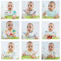 Wholesale Cotton Gauze Bibs - Baby Bibs 360 Degree Rotation 6 Layers Gauze Soft Newborn Infant Saliva Towel Baby Kids Bibs Accessory 10 Colors Best Gifts Free Shipping