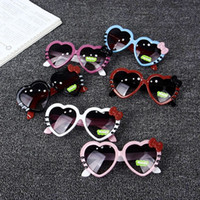 Wholesale Spectacles Frames Wholesale Kids - Children sunglasses cute baby boys girls love heart goggles kids bows KT cat sunglasses fashion girls UV beach spectacles T4836