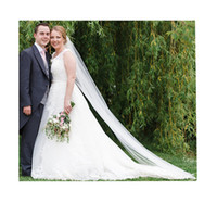 Wholesale Floor Veils - 2017 Hot White Ivory Bridal Veils One Layer Floor Length Cheap All Match Simple Applique Tulle Veil