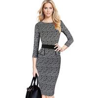 tartan çizgili elbiseler toptan satış-Yeni Moda Bayan Zarif Tartan Onay Ekose Tunik Zayıflama Bahar Ofis İş Kalem Kılıf Casual Elbise çalışmak Giyin