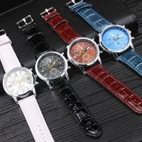 Wholesale Clock Geneva - 50pcs Geneva Watches Splendid Luxury Fashion Casual Men Watch Leather Quartz Analog Watches Brand Clock Male Casual Cool Watch DHL Free