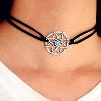 Wholesale Best Deals Wholesale Jewelry - 2017 Best Deal Fashion Necklaces Alloy turquoise Dream Catcher girl Necklace For Women Statement Necklace Jewelry Clavicle chain gift