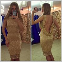 Wholesale Sex Classic Party - 2017 Shiny Gold Sequin Backless Knee Length Cocktail Dress Sex Party Dress Vestidos De Festa Curtos Noite