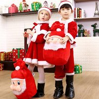 Wholesale Warm Dresses For Girls - Christmas Gift Cut Wear Christmas Santa Claus Fancy Dress With Shawl Hat Outfit Suit Costume Warm Saft For Baby Girl Boy Kids Clothing