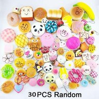 Wholesale Squishy Keychains - 30pcs Kawaii Squishies fruit Bun Toast Donut Bread for cell phone Bag Charm Straps keychains mixed Squishy slow rising lanyard scented b1428
