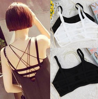 Wholesale Tank Top Bandeau - Sexy Women Girl Stripe Strap Back Vest Bra Summer Tops Tube Tank Wrap Bandeau camisole Crop Top with pad black white