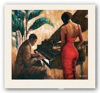 Wholesale african oil paint resale online - Enchanting Keys Monica Stewart Pure Hand Painted AFRICAN AMERICAN Art Oil Painting On Canvas customized size ebon