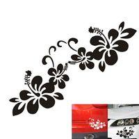 Wholesale Flower Car Stickers - 1 Pair Plant Flower Bumper Personalized Creative Car Sticker Black Silver CEA_301