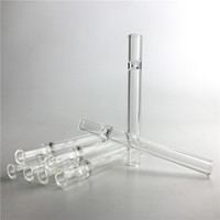 Wholesale clear glass tobacco pipes - 4.5 Inch Glass Pipes Tobacco Cigarette Bat Holder Glass Straw Tube Spoon Water Pipes Clear Thick Filter Tips Tester Cheap Smoking Pipe