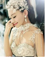 Wholesale Crystal Drop Decorations - New 2017 luxury lace rhinestone necklace wedding shoulder decoration first jewelry gift box bling bling bohemain