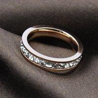 diamants super or achat en gros de-ZHF Bijoux 18 k rose or placage femmes anneau Super flash unique rangée Carré bague en diamant Anneaux pour les femmes