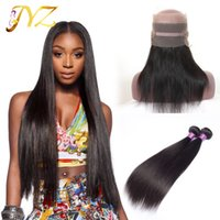 Wholesale Top Hair Bundles - 360 lace frontal with bundles virgin human hair straight with lace frontal Peruvian virgin hair with 360 lace frontal top grade