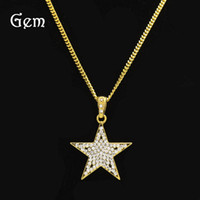 Wholesale Diamond Star Pendant Necklace - Men's Hiphop Jewelry Five-pointed star Charm Pendant Necklaces With Full Diamond Gold Plated Hip Hop Accessory Wholesale