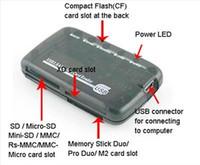 carte ms achat en gros de-100set / lot 6 port tout en 1 USB 2.0 Mini Transparent Multifonction CF TF SD XD MS SDHC Multi-carte Lecteur de Carte Mémoire Lecteur