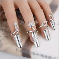 Wholesale fingernail art wraps resale online - Korean Silver Finger Nail Rings Trendy Leaf Designs Open Mouth knuckle Fingernails with Rhinestone Nail Art Wrap Jewelry Cheap price